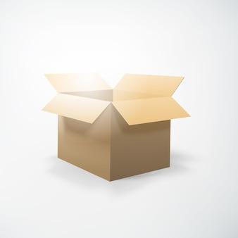 Concepto de embalaje realista con caja de cartón de apertura en blanco aislado