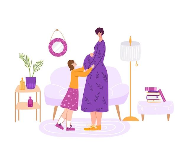 Concepto de embarazo y maternidad - mujer embarazada feliz esperando un bebé. mamá e hija pequeña en la acogedora habitación interior - vector