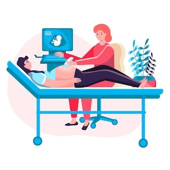 Concepto de embarazo. médico visitante de la mujer embarazada y hace el cribado. cuidando la salud de la madre y el bebé en la escena del personaje de la clínica. ilustración de vector de diseño plano con actividades de personas