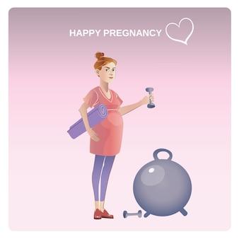 Concepto de embarazo saludable de dibujos animados
