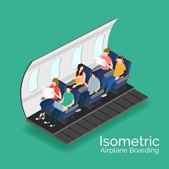 Concepto de embarque de avión isométrico