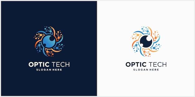 Concepto de emblema de logotipo de tecnología ocular para cctv