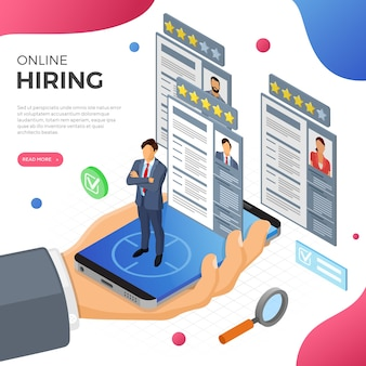 Concepto de empleo, reclutamiento y contratación isométrico en línea