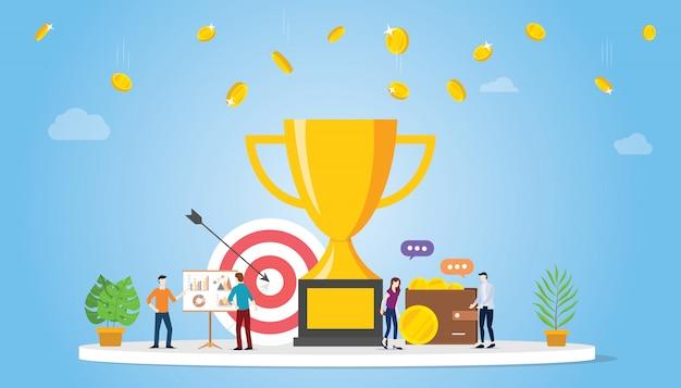 Concepto de empresa de logro de objetivo de negocio con gran trofeo de oro