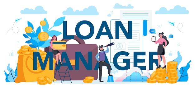 Concepto de encabezado tipográfico de administrador de préstamos