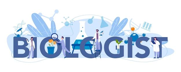 Concepto de encabezado tipográfico de biólogo
