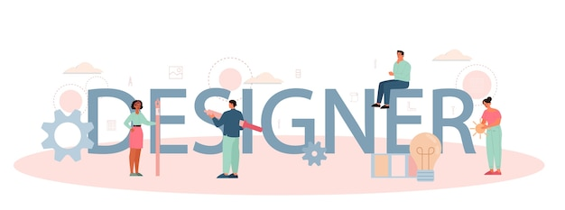 Concepto de encabezado tipográfico de diseñador o ilustrador digital.