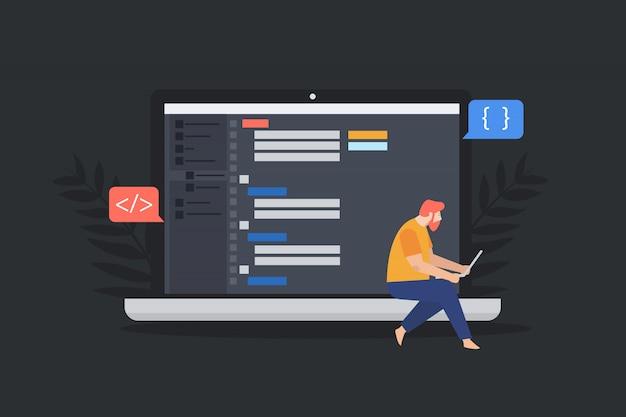 Concepto de encabezado tipográfico de diseño del sitio. construcción de sitios web. proceso de creación de sitio web, codificación, programación.