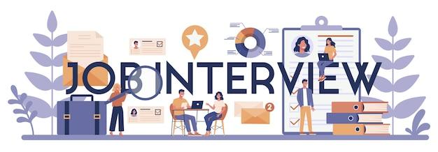 Concepto de encabezado tipográfico de entrevista de trabajo