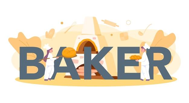 Concepto de encabezado tipográfico de panadería y panadería. chef en el pan de hornear uniforme. proceso de repostería.