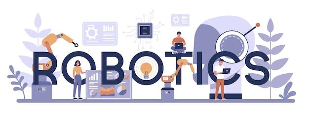 Concepto de encabezado tipográfico de robótica. ingeniería y programación de robots. idea de inteligencia artificial y tecnología futurista. automatización de máquinas. ilustración de vector aislado en estilo de dibujos animados