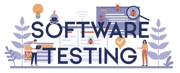 Concepto de encabezado tipográfico de software de prueba