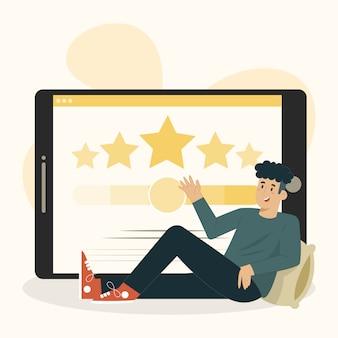 Concepto de encuesta al cliente un hombre con una ilustración de tableta grande