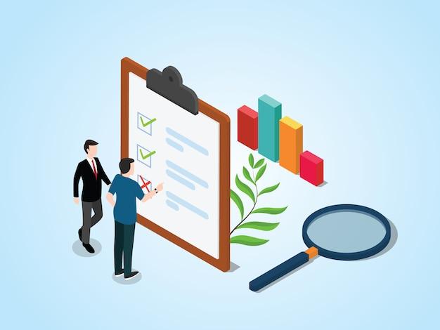 Concepto de encuesta isométrica con personas y lista de verificación