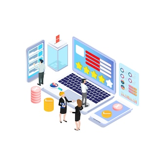 Concepto de encuesta en línea isométrica con burbuja de estrellas de calificación para servicios de productos de aplicación