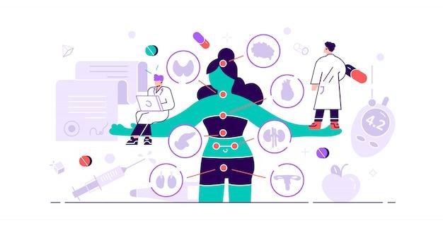 Concepto de endocrinología. pequeñas hormonas enfermedades personas. rama del sistema endocrino de medicina y biología abstracta. investigación del tratamiento conductual o comparativo. problema de la glándula anatómica. ilustración