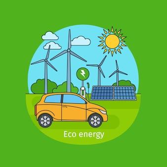 Concepto de energía ecológica con coche.