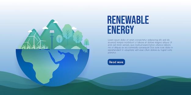 Concepto de energía ecológica y energías renovables para la página de inicio