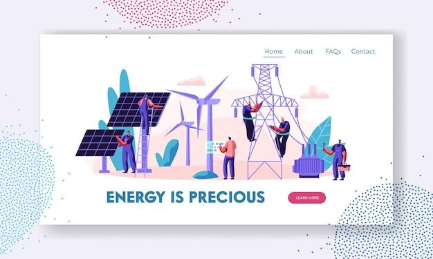Concepto de energía limpia alternativa con plantilla de página de destino de paneles solares