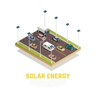 Concepto de energía solar con baterías de automóviles y carretera isométrica