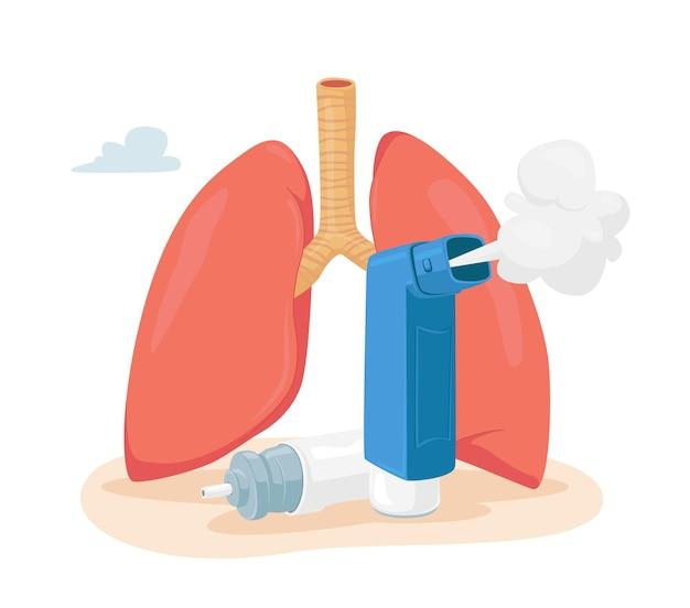 Concepto de enfermedad del asma. pulmones humanos e inhalador para respirar