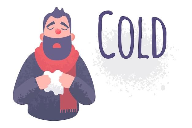 Concepto enfermo del virus enfermo de la bandera de la gripe fría