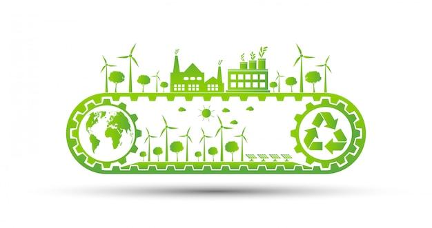 Concepto de engranaje de ahorro ecológico y desarrollo de energía ambiental sostenible