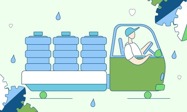 Concepto de entrega de agua limpia