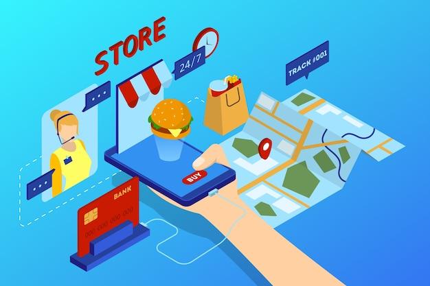 Concepto de entrega de alimentos en línea. pedido de comida en internet