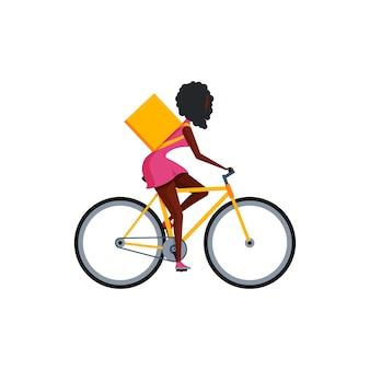 Concepto de entrega de bicicletas. mujer en estilo de dibujos animados plano aislado