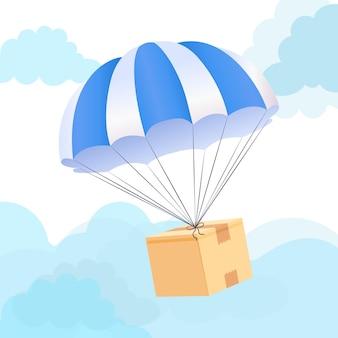 Concepto de entrega de caja de paracaídas. enviar servicio de envío de paquetes.