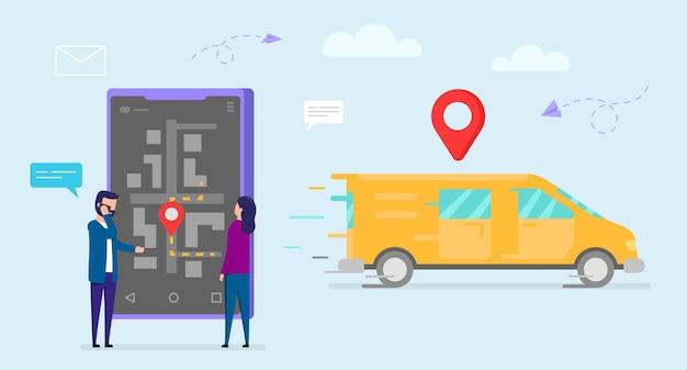 Concepto de entrega. camión de reparto naranja moviéndose con letrero rojo arriba, personajes masculinos y femeninos de pie cerca de un gran smartphone, hombre hablando por teléfono. mapa de navegación en pantalla.