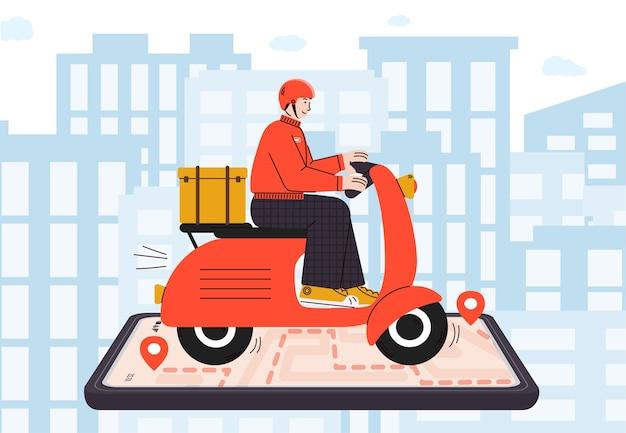 Concepto de entrega de comida rápida con mensajero en motocicleta