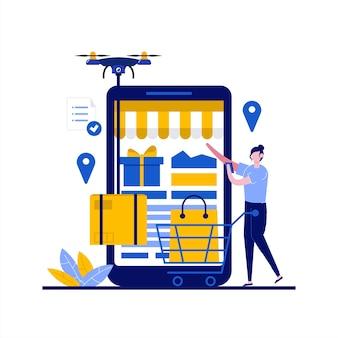 Concepto de entrega de drones con carácter. personas que utilizan la aplicación móvil para realizar pedidos, paquete de caja de envío rápido por vía aérea.