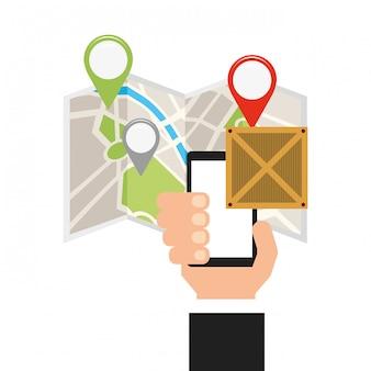 Concepto de entrega logística y tecnológica.