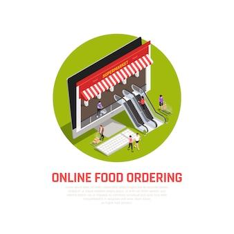 Concepto de entrega móvil de alimentos con símbolos de compra en línea isométricos