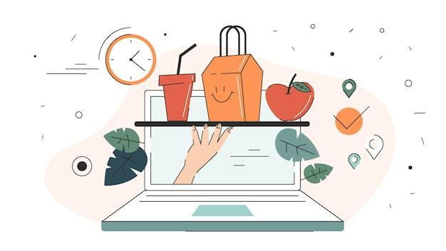Concepto de entrega online. pedido de comida en internet