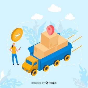 Concepto de entrega de página de destino con camión de correo