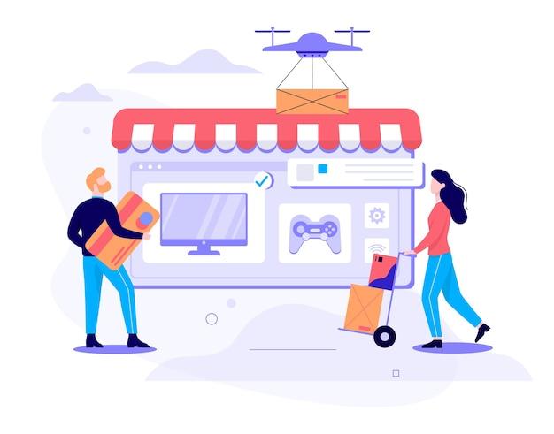 Concepto de entrega rápida. contenedor de caja volando por drone. orden en internet. añadir al carrito, pagar con tarjeta y esperar mensajería. ilustración