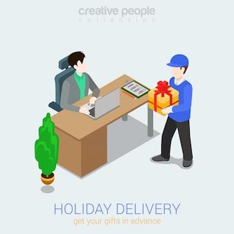 Concepto de entrega de regalo de vacaciones courier hombre dando cuadro actual al hombre ilustración isométrica