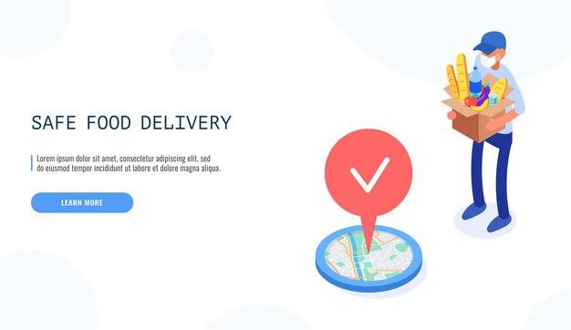 Concepto de entrega segura de alimentos. mensajero masculino mantenga cajas en máscara médica, entrega el paquete con comida.