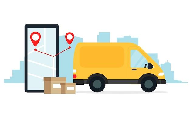 Concepto de entrega segura, repartidor en un coche amarillo. ilustración en estilo plano