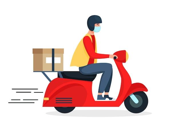 Concepto de entrega segura, repartidor en scooter rojo, ciclomotor, motocicleta. ilustración en estilo plano