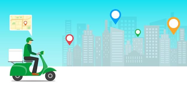 Concepto de entrega urgente. hombre de entrega montando moto scooter con aplicación móvil de ubicación.