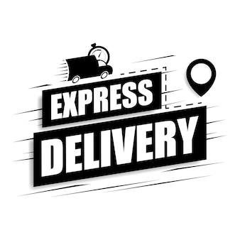 Concepto de entrega urgente con icono de coche y destinos gps.