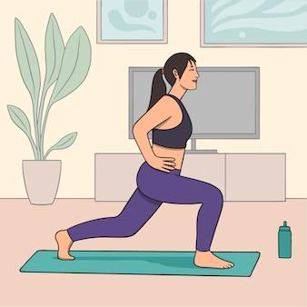 Concepto de entrenamiento en casa con ejercicios