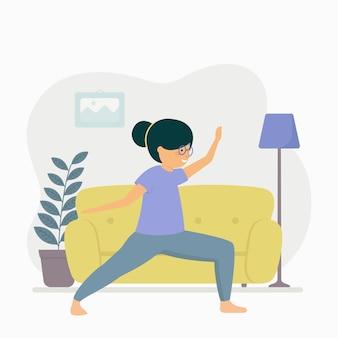 Concepto de entrenamiento en casa con mujer y sofá