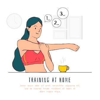 Concepto de entrenamiento en casa con mujer