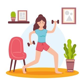 Concepto de entrenamiento en casa con pesas