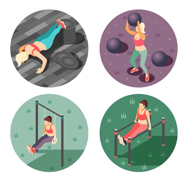 Concepto de entrenamiento corporal total 4 ilustración redonda isométrica